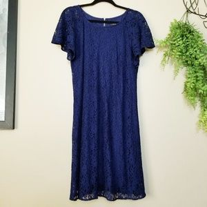 Lane Bryant | Navy Lace Flutter Sleeve Dress